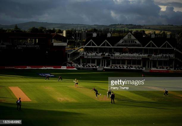 General view of play during the Vitality T20 Blast match between Somerset and Hampshire at The Cooper Associates County Ground on June 25, 2021 in...