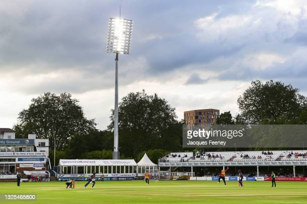 General view of play during the Vitality T20 Blast match between Essex Eagles and Kent Spitfires at Cloudfm County Ground on June 25, 2021 in...
