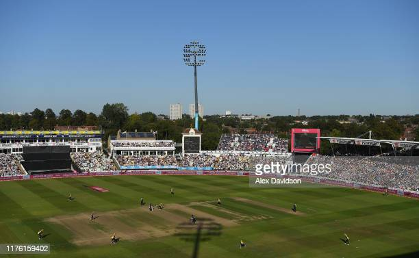 General view of play during the Vitality T20 Blast Semi Final match between Derbyshire Falcons and Essex Eagles at Edgbaston on September 21, 2019 in...
