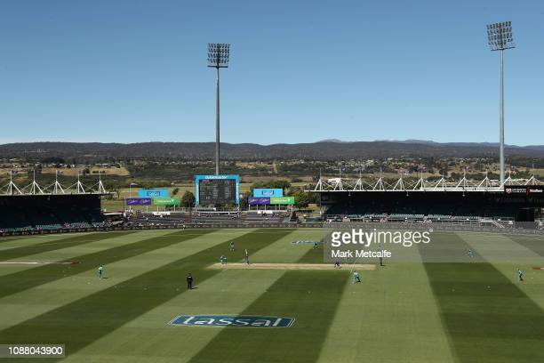 A general view of play during the Women's Big Bash League match between the Hobart Hurricanes and the Brisbane Heat at UTAS Stadium on December 30...