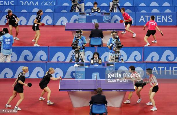 General view of play during the women's doubles table tennis match on August 16, 2004 during the Athens 2004 Summer Olympic Games at Galatsi Olympic...