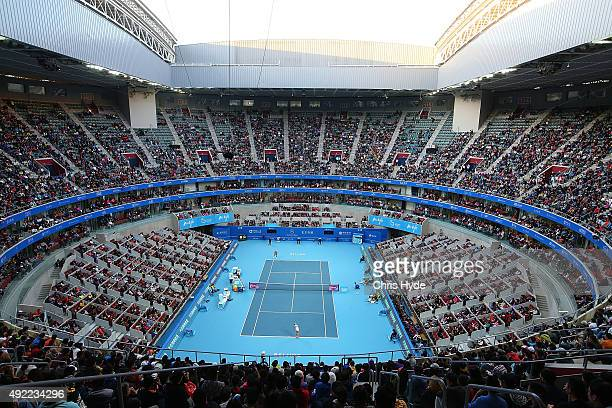 General view of play during the Womens Final with Garbine Muguruza against Timea Bacsinszky of Switzerland on day 9 of the 2015 China Open at the...