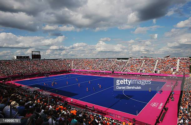 General view of play during the Women's Hockey semifinal match between New Zealand and the Netherlands on Day 12 of the London 2012 Olympic Games at...