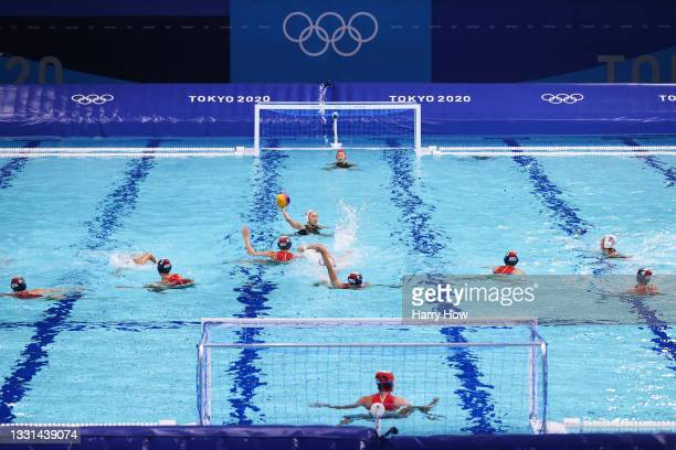 General view of play during the Women's Preliminary Round Group B match between Japan and Hungary on day seven of the Tokyo 2020 Olympic Games at...
