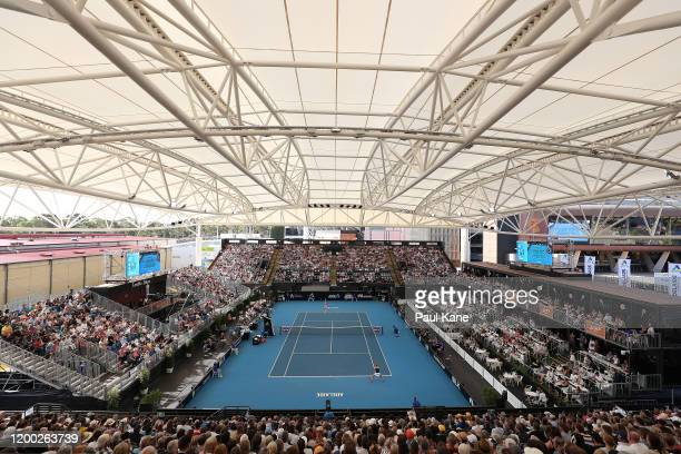A general view of play during the women's singles grand final between Ashleigh Barty of Australia and Dayana Yastremska of the Ukraine on day seven...