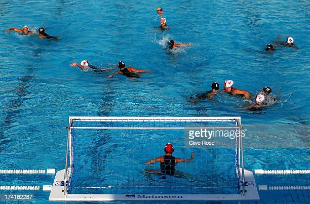 A general view of play during the Women's Water Polo first preliminary round match between Canada and Great Britain during Day Two of the 15th FINA...