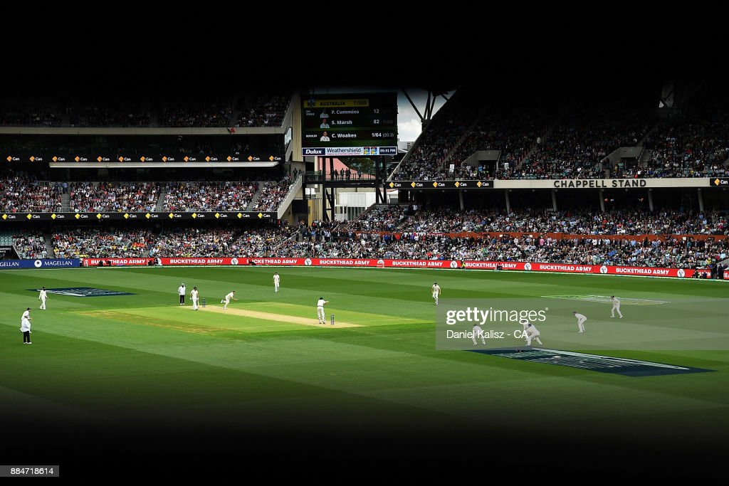 A general view of play from inside the old scoreboard during day two of the Second Test match during the 2017/18 Ashes Series between Australia and England at Adelaide Oval on December 3, 2017 in Adelaide, Australia.