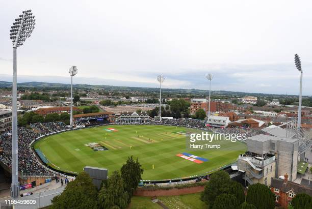 A general view of play from St James Church overlooking the ground during the Group Stage match of the ICC Cricket World Cup 2019 between Australia...