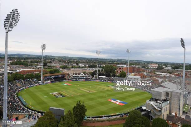 General view of play from St James Church overlooking the ground during the Group Stage match of the ICC Cricket World Cup 2019 between Australia and...