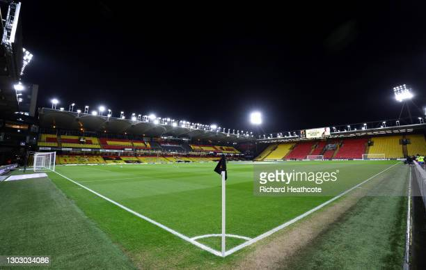 General view of play from the corner flag ahead of the Sky Bet Championship match between Watford and Derby County at Vicarage Road on February 19,...