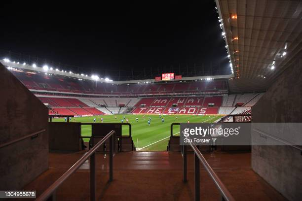 General view of play from the entrance to an empty stand at the Stadium of Light during the Sky Bet League One match between Sunderland and Swindon...