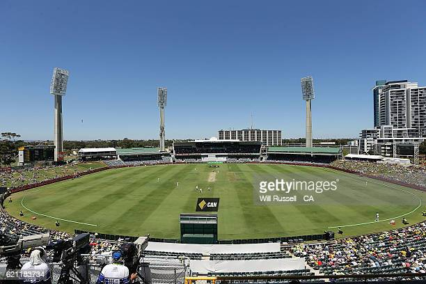A general view of play from the Lillie Marsh stand during day three of the First Test match between Australia and South Africa at WACA on November 5...