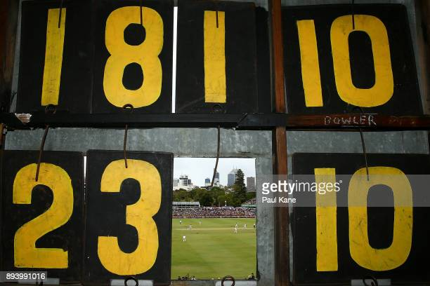 A general view of play from the scoreboard during day four of the Third Test match during the 2017/18 Ashes Series between Australia and England at...