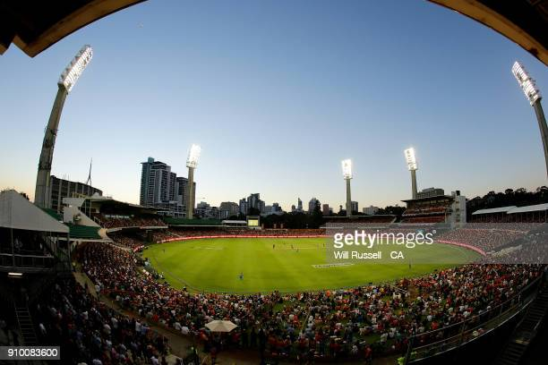 A general view of play from the scoreboard during the Big Bash League match between the Perth Scorchers and the Adelaide Strikers at WACA on January...