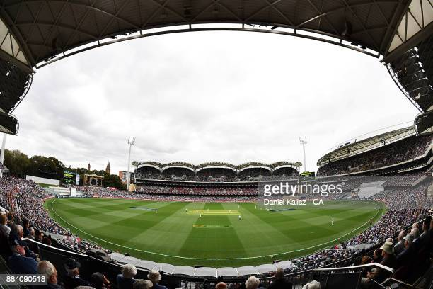 A general view of play from the Sir Donald Bradman Pavilion during day one of the Second Test match during the 2017/18 Ashes Series between Australia...