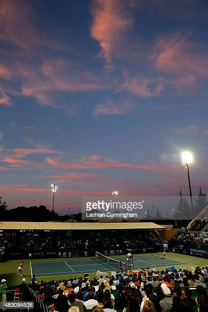 A general view of play in between Ajla Tomljanovic of Croatia and Madison Keys of the United States during day three of the Bank of the West Classic...