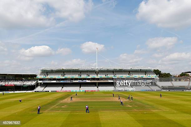 A general view of play in front of an empty Lord's Grandstand during the Royal London OneDay Cup match between Middlesex Panthers and Surrey at...