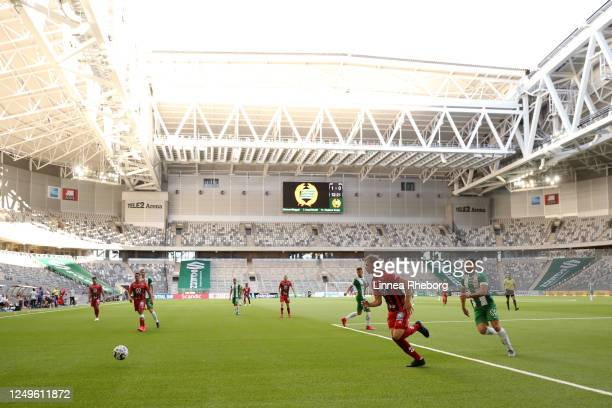 General view of play in front of empty seats during the Allsvenskan match between Hammarby IF and Ostersunds FK at Tele2 Arena on June 14, 2020 in...
