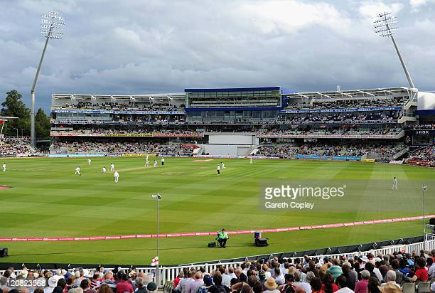 General view of play in front of the new pavillion during day two of the 3rd npower Test between England and India at Edgbaston on August 11 2011 in...