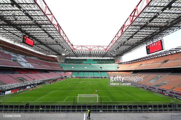 A general view of play in the empty stadium after rules to limit the spread of Covid19 were put in place for the Serie A match between AC Milan and...
