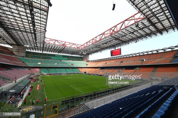 General view of play in the empty stadium after rules to limit the spread of Covid-19 were put in place for the Serie A match between AC Milan and...
