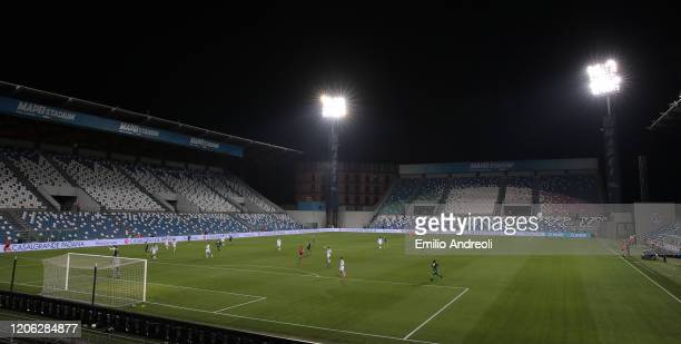 A general view of play in the empty stadium after rules to limit the spread of Covid19 were put in place for the Serie A match between US Sassuolo...