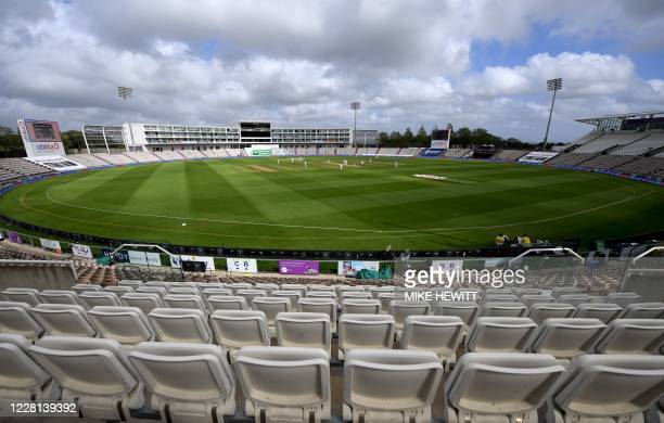 General view of play in the empty stadium on the first day of the third Test cricket match between England and Pakistan at the Ageas Bowl in...