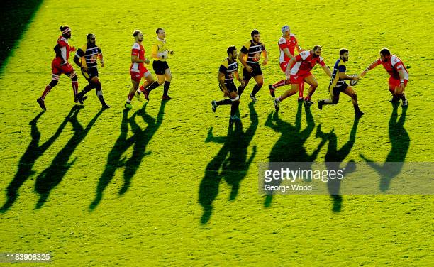 General view of play in the late evening sun during the RFU Championship match between Yorkshire Carnegie and Coventry Rugby at Headingley Carnegie...