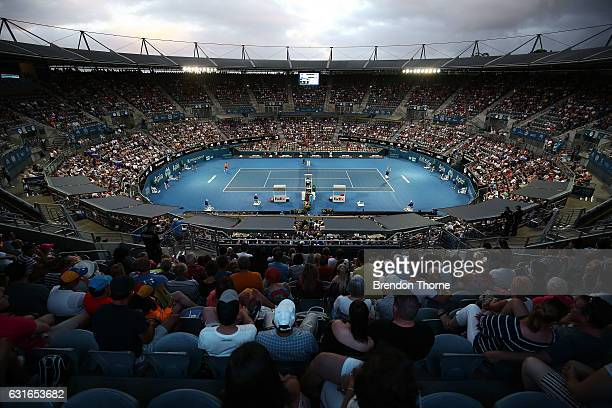 A general view of play in the men's final match during the 2017 Sydney International at Sydney Olympic Park Tennis Centre on January 14 2017 in...