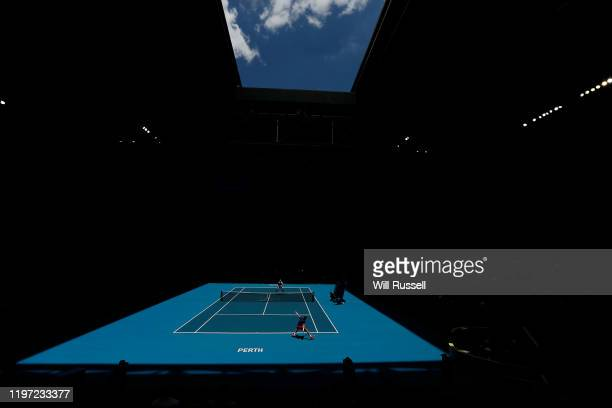 A general view of play in the mens singles match between John Isner of USA and Casper Ruud of Norway during day one of the 2020 ATP Cup Group Stage...