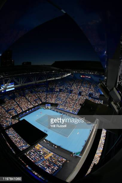 General view of play in the mens singles match between Rafael Nadal of Team Spain and Pablo Cuevas of Team Uruguay during day four of the 2019 ATP...