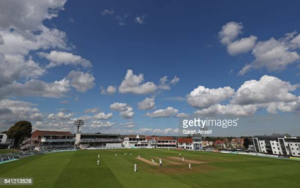 A general view of play in the morning session before the rain arrived on day 4 of the Specsavers County Championship Division Two match between Kent...