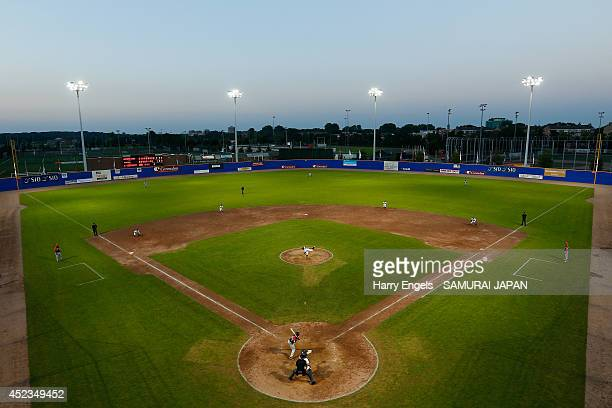 General view of play in the ninth innings during the Haarlem Baseball Week match between Japan and the Netherlands at Pim Mullier Stadion on July 18,...