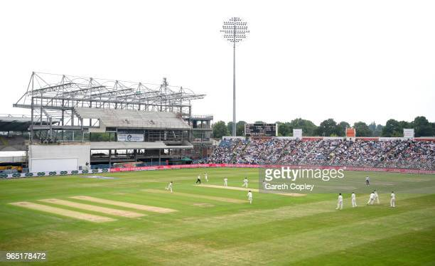 General view of play infront of the reconstruction of the new rugby stand during the 2nd NatWest Test match between England and Pakistan at...
