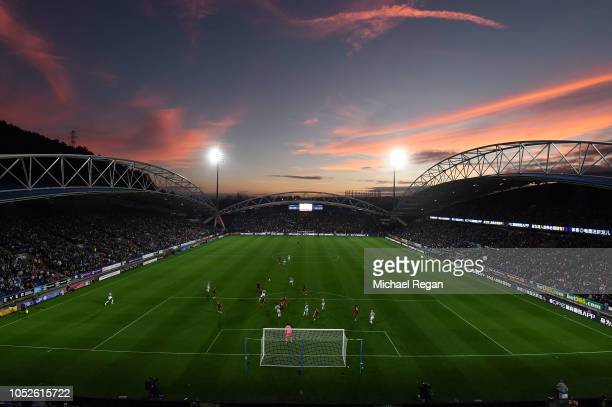 General view of play inside the stadium during the Premier League match between Huddersfield Town and Liverpool FC at John Smith's Stadium on October...