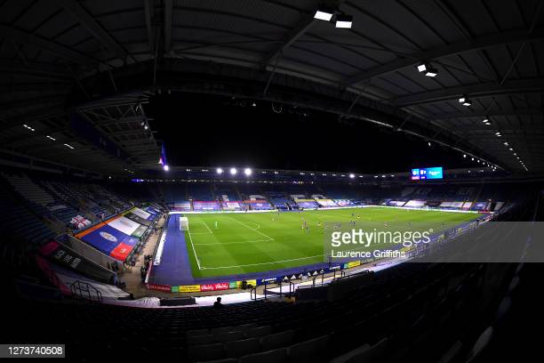 General view of play inside the stadium during the Premier League match between Leicester City and Burnley at The King Power Stadium on September 20,...