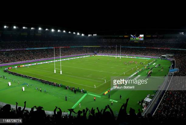 A general view of play inside the stadium during the Rugby World Cup 2019 SemiFinal match between Wales and South Africa at International Stadium...