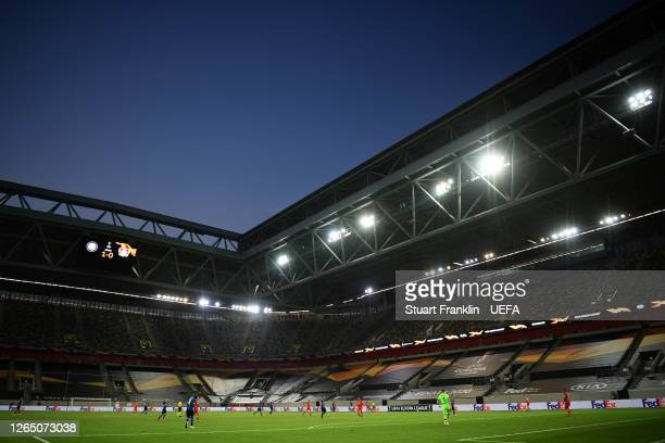 General view of play inside the stadium in front of empty stands during the UEFA Europa League Quarter Final between Inter and Bayer 04 Leverkusen at...