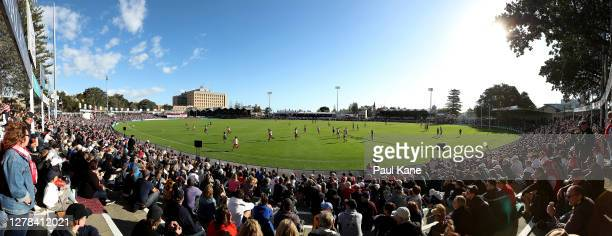 General view of play is seen during the 2020 WAFL Grand Final match between the South Fremantle Bulldogs and the Claremont Tigers at Fremantle...