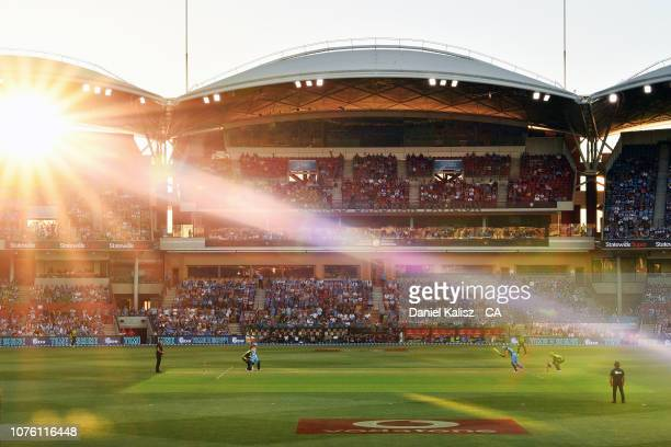 General view of play is seen during the Big Bash League match between the Adelaide Strikers and the Sydney Thunder at Adelaide Oval on December 31,...