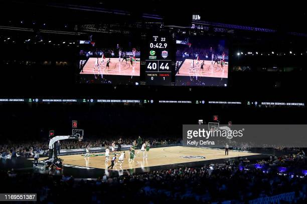 General view of play is seen during the International Basketball Friendly match between the Australian Boomers and Team USA United States of America...