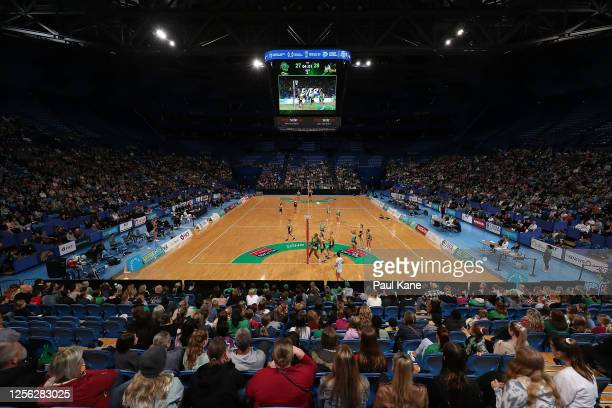 General view of play is seen during the netball exhibition match between the West Coast Fever and the WA All Stars at RAC Arena on July 15, 2020 in...