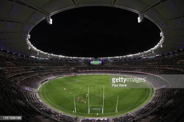 General view of play is seen during the round 7 AFL match between the Fremantle Dockers and the West Coast Eagles at Optus Stadium on July 19, 2020...