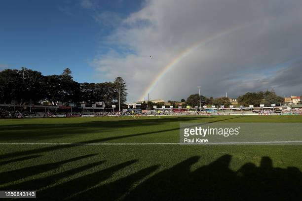 General view of play is seen during the round one WAFL match between the South Fremantle Bulldogs and East Fremantle Sharks at Fremantle Community...
