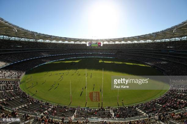 A general view of play is seen during the round two AFLW match between the Fremantle Dockers and the Collingwood Magpies at Optus Stadium on February...