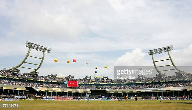 A general view of play is seen during the second one day international match between India and Australia at the Jawaharlal Nehru Stadium on October 2...