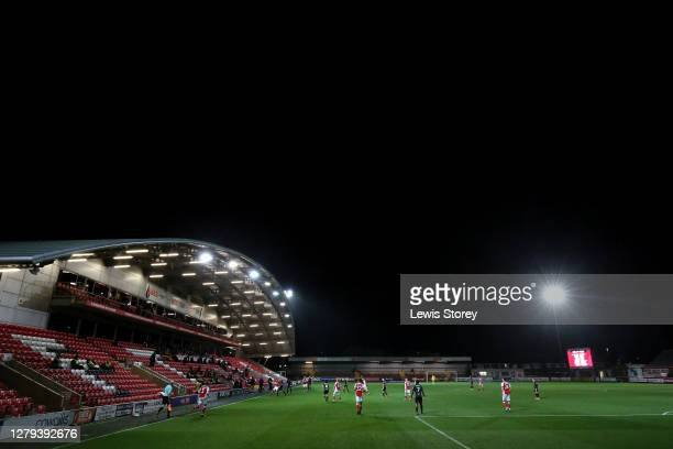 General view of play is seen during the Sky Bet League One match between Fleetwood Town and Hull City at Highbury Stadium on October 09, 2020 in...