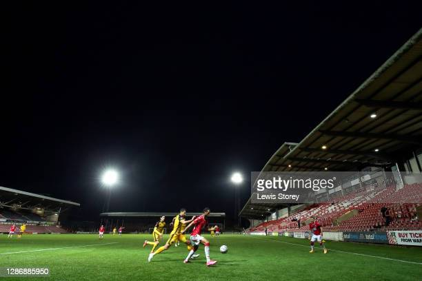 General view of play is seen during the Vanarama National League match between Wrexham and Aldershot Town at Racecourse Ground on November 21, 2020...