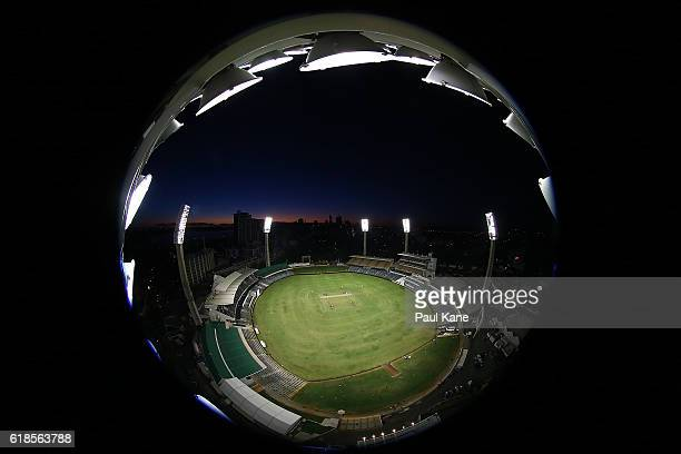 A general view of play is seen from a light tower during day three of the Sheffield Shield match between Western Australia and South Australia at the...