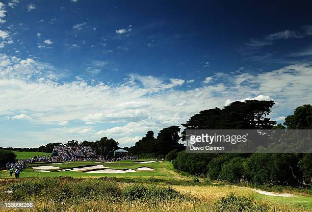 A general view of play is seen on the 14th green during the Day One Foursome Matches of the 2011 Presidents Cup at Royal Melbourne Golf Course on...
